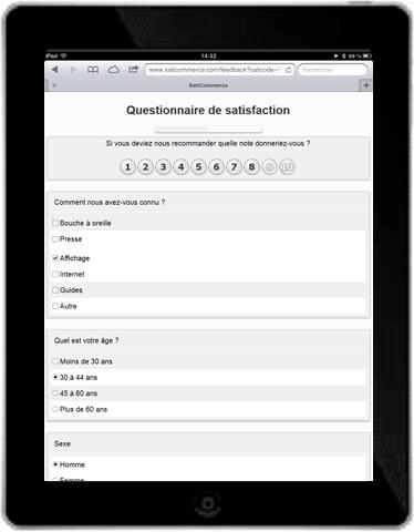 Questionnaires sur tablettes